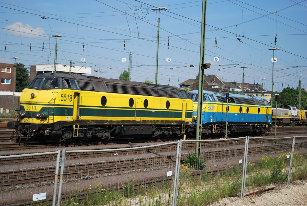 Two diesel engines type HLD 55 waiting on siding at Aachen Westbahnhof. June 2008.