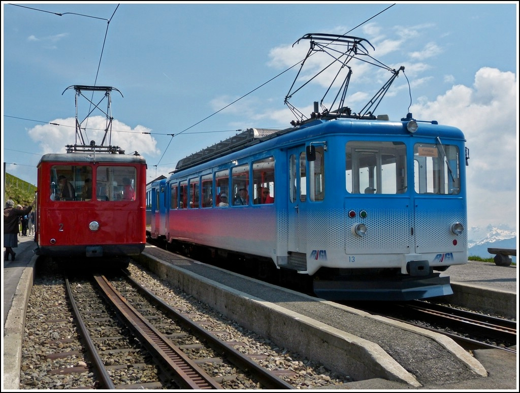 Two RB trains photographed at Rigi Kulm on May 24th, 2012