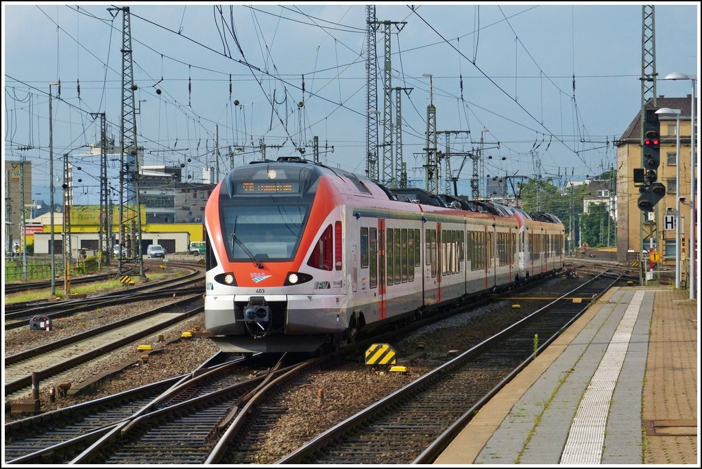 VIAS Flirt double unit is arriving in Koblenz main station on July 28th, 2012.