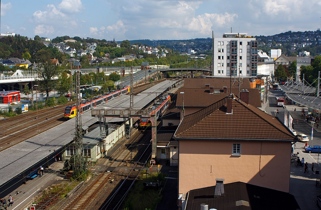 View of the main station in Siegen, on 03.09.2011, from the parking deck of the City Gallery.