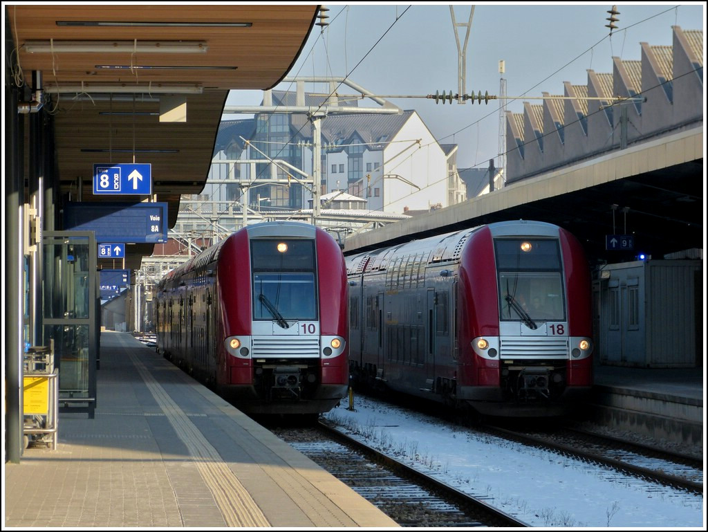 Z 2210 and 2218 photographed in Luxembourg City on February 1st, 2012.