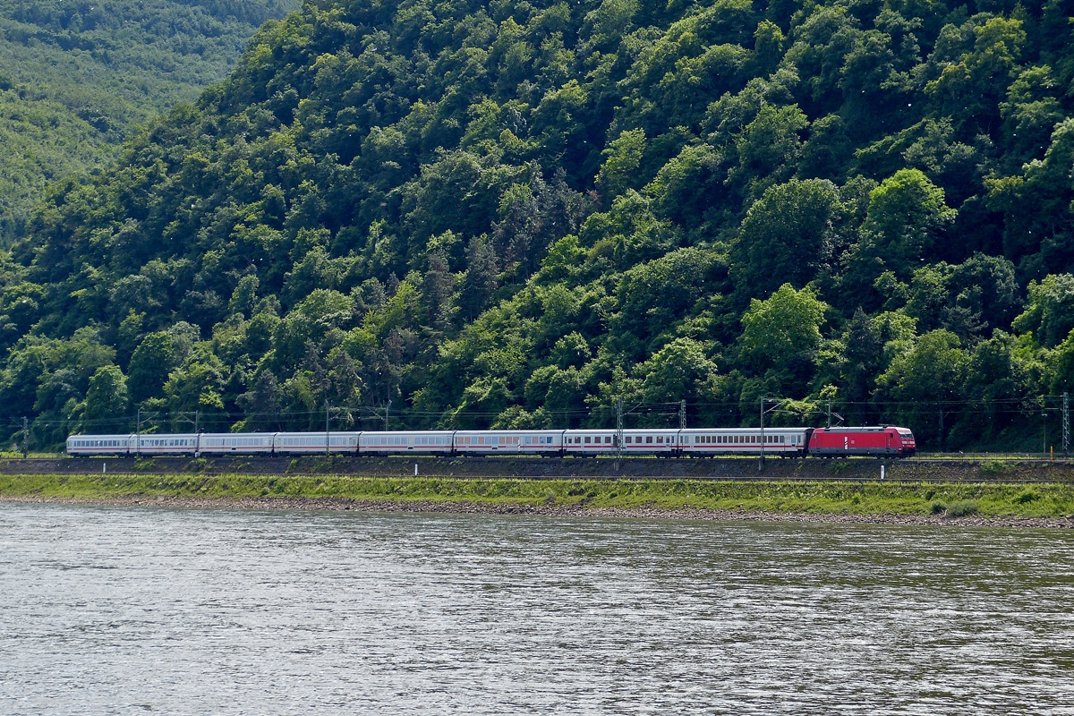 . 101 069-3 is hauling a IC on the left Rhine track between Rhens and Koblenz on May 25th, 2014.