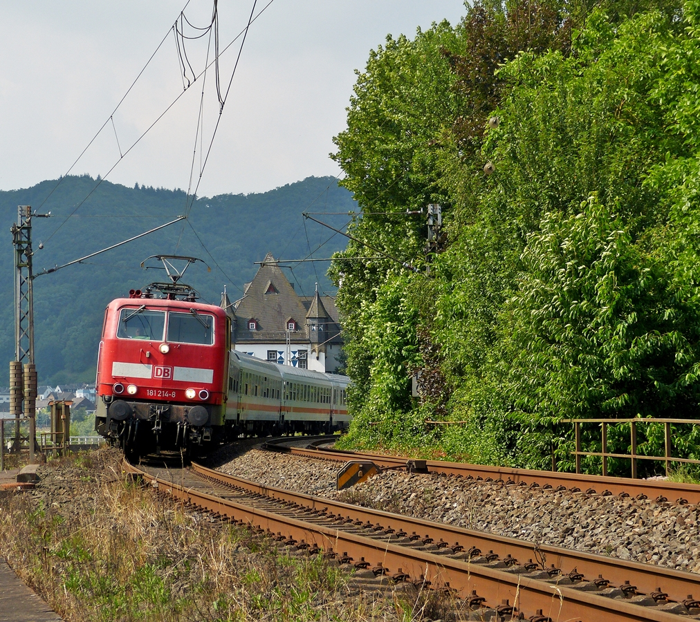 . 181 214-8  Mosel  is heading the IC 133  Ostfriesland  Luxembourg City - Norddeich Mole in Kobern-Gondorf on June 22nd, 2014.