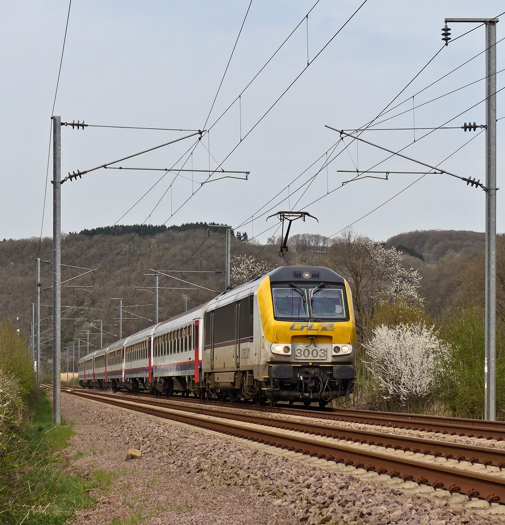 . 3003 is hauling the IC 114 Liers - Luxembourg Ctiy through Erpeldange/Ettelbrück on April 16th, 2015.