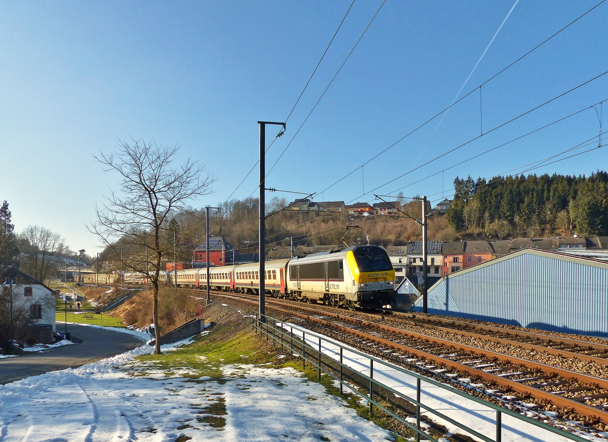 . 3008 is hauling the IC 114 Liers - Luxembourg City through Troisvierges on February 11th, 2015.