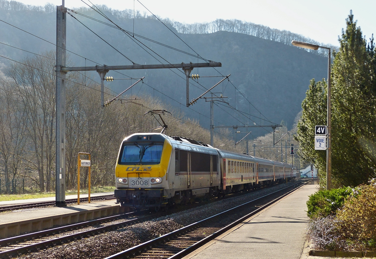 . 3008 is heading the IC 111 Luxembourg City - Liers in Kautenbach on April 15th, 2015.