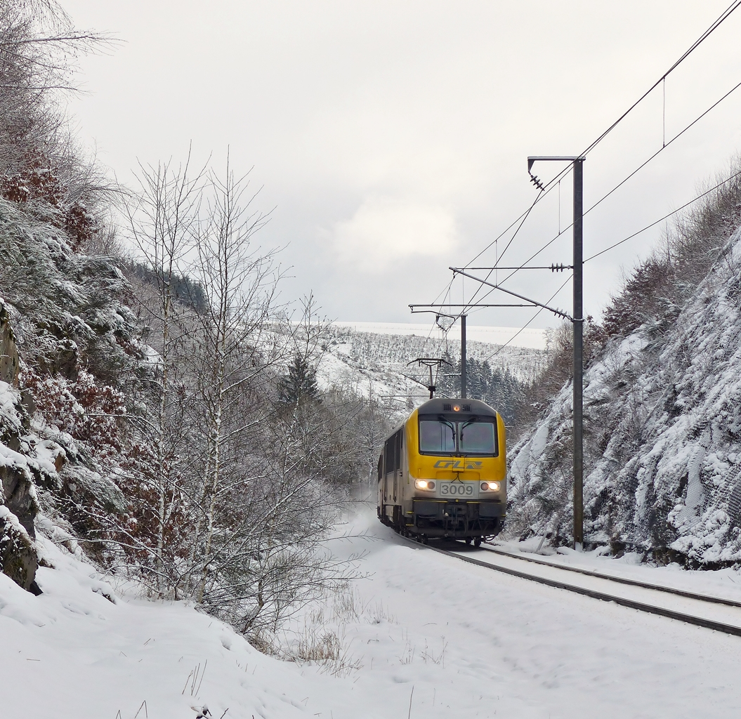 . 3009 is heading the IC 113 Luxembourg City - Liers near Maulusmühle on February 2nd, 2015.