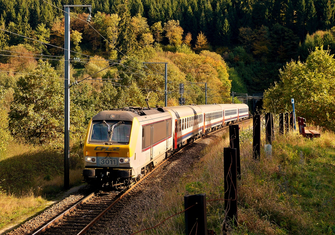 . 3011 is hauling the IR 116 Luxembourg City - Liers through Lellingen on October 14th, 2014.