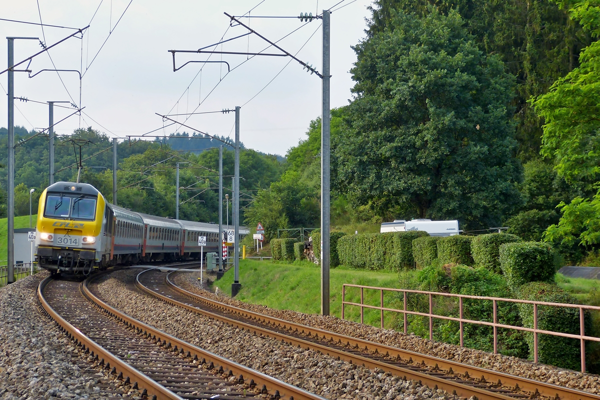 . 3014 is heading the IR 121 Liers - Luxembourg City in Enscherange on July 22nd, 2014.