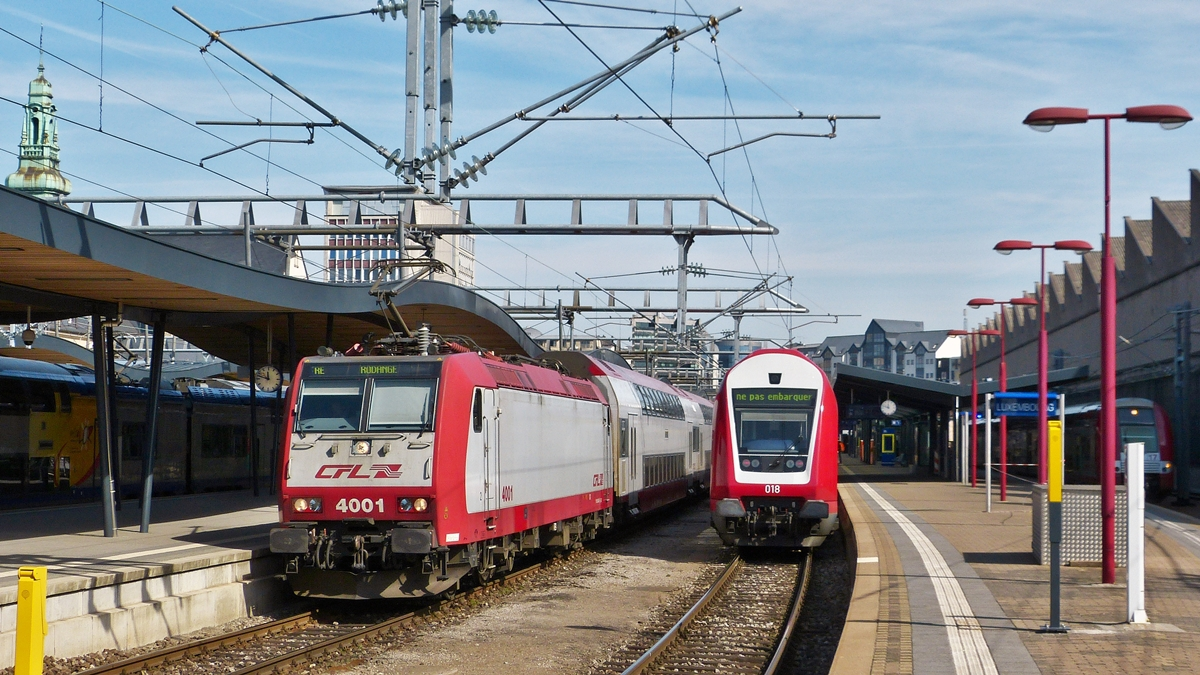 . 4001 is leaving the station of Luxembourg City on April 10th, 2015.