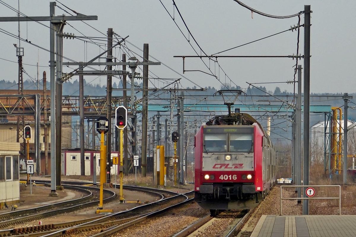 . 4016 is haunling the RE 6965 Luxembourg City - Rodange into the station Belval Université on March 7th, 2014.