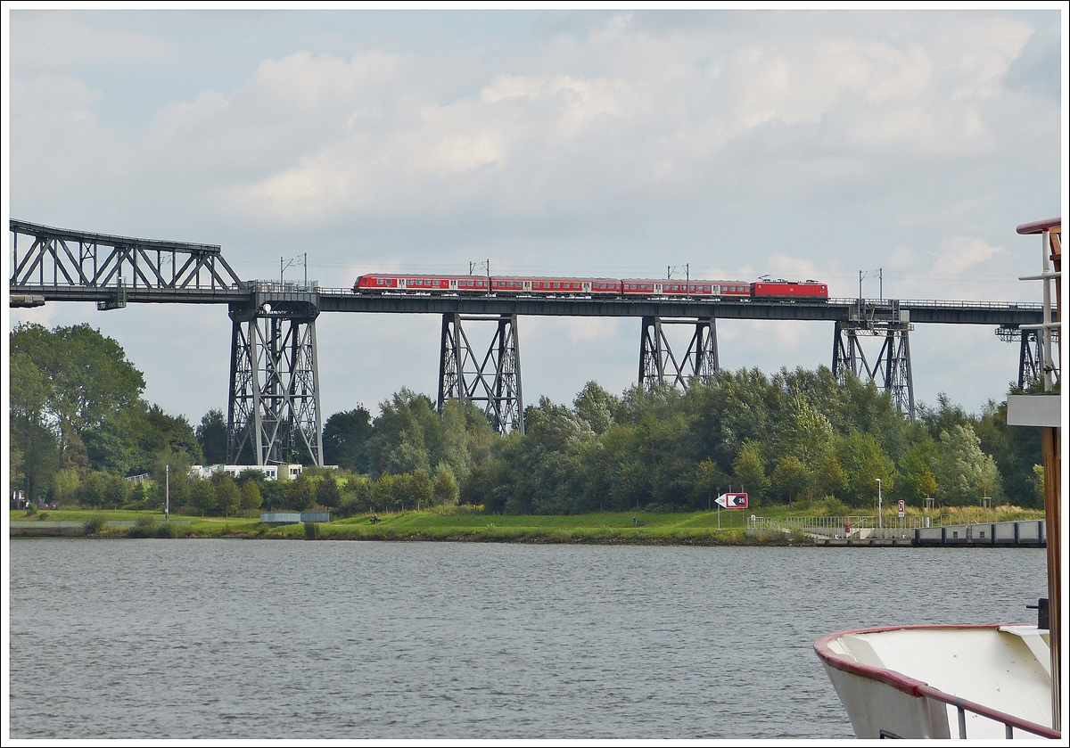 . A local train is running on the bridge in Rendsburg on September 18th, 2013.
