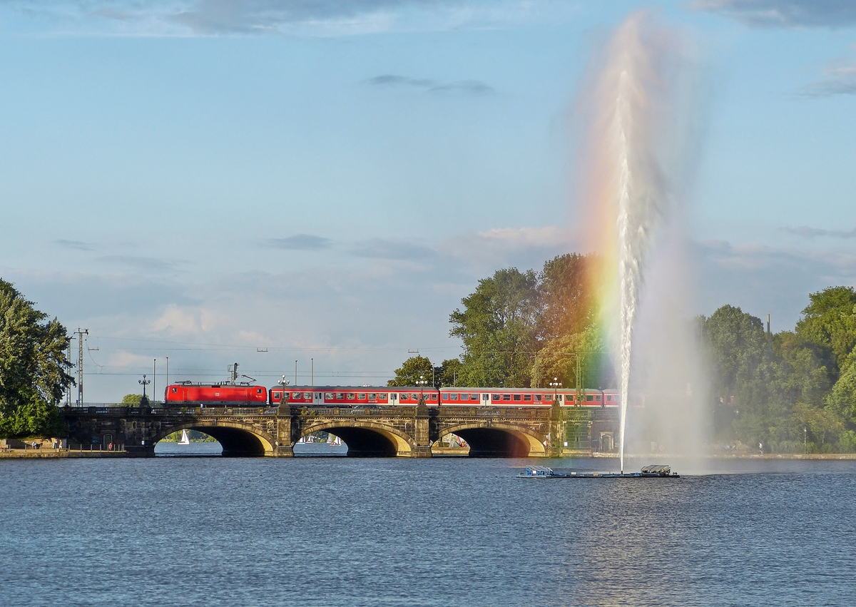 . A local train photographed on the Lombardsbrücke in Hamburg on September 17th, 2013.