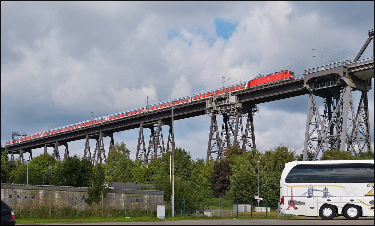 . A local train pictured on the Rendsburger Hochbrücke in Rendsburg on September 18th, 2013.