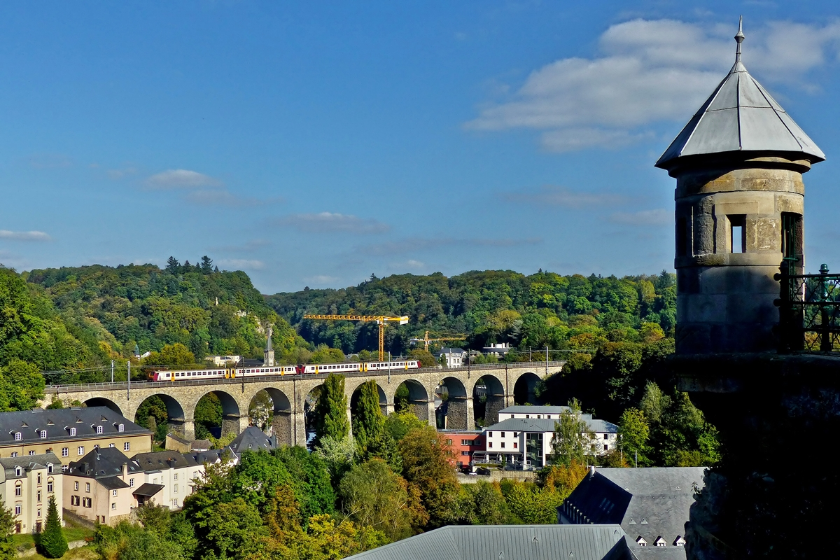 . A local train taken on the Pfaffental viaduct in Luxembourg City on September 23rd, 2014.