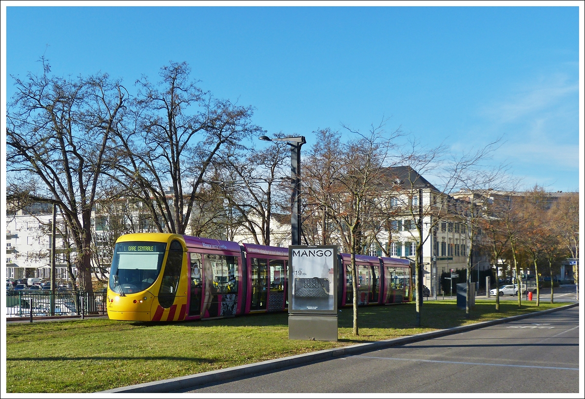. A Soléa Citadis 302 tram pictured in Mulhouse on December 10th, 2013.