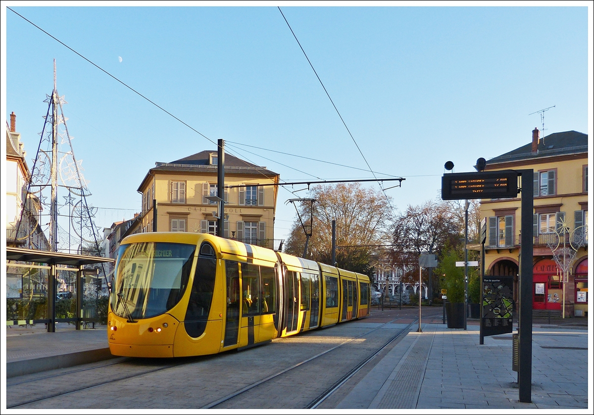 . A Soléa tram is arriving at the stop République in Mulhouse on December 10th, 2013.