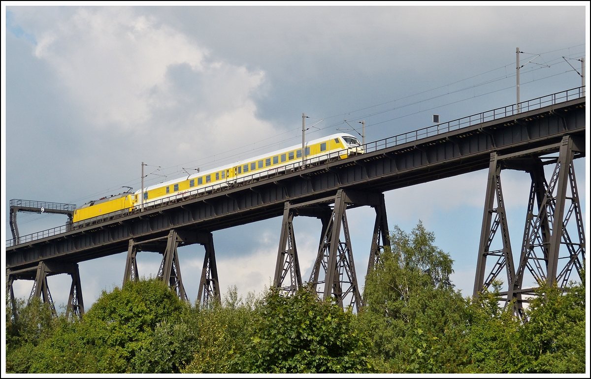 . A track recording train photographed on the Rendsburger Hochbrücke in Rendsburg on September 18th, 2013.