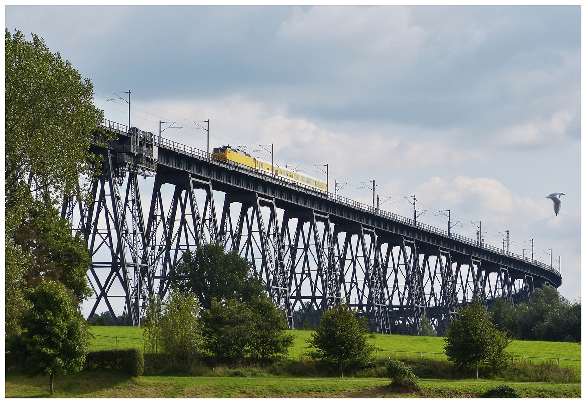 . A track recording train is running on the Rendsburger Hochbrücke in Rendsburg on September 18th, 2013.