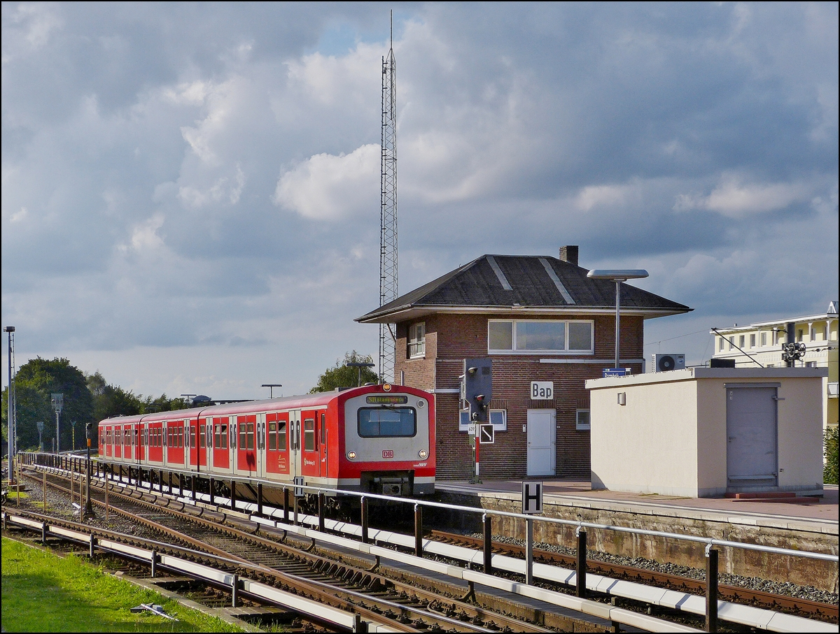 . A train of the Hamburger S-Bahn is entering into the station Barmbek on September 17th, 2013.
