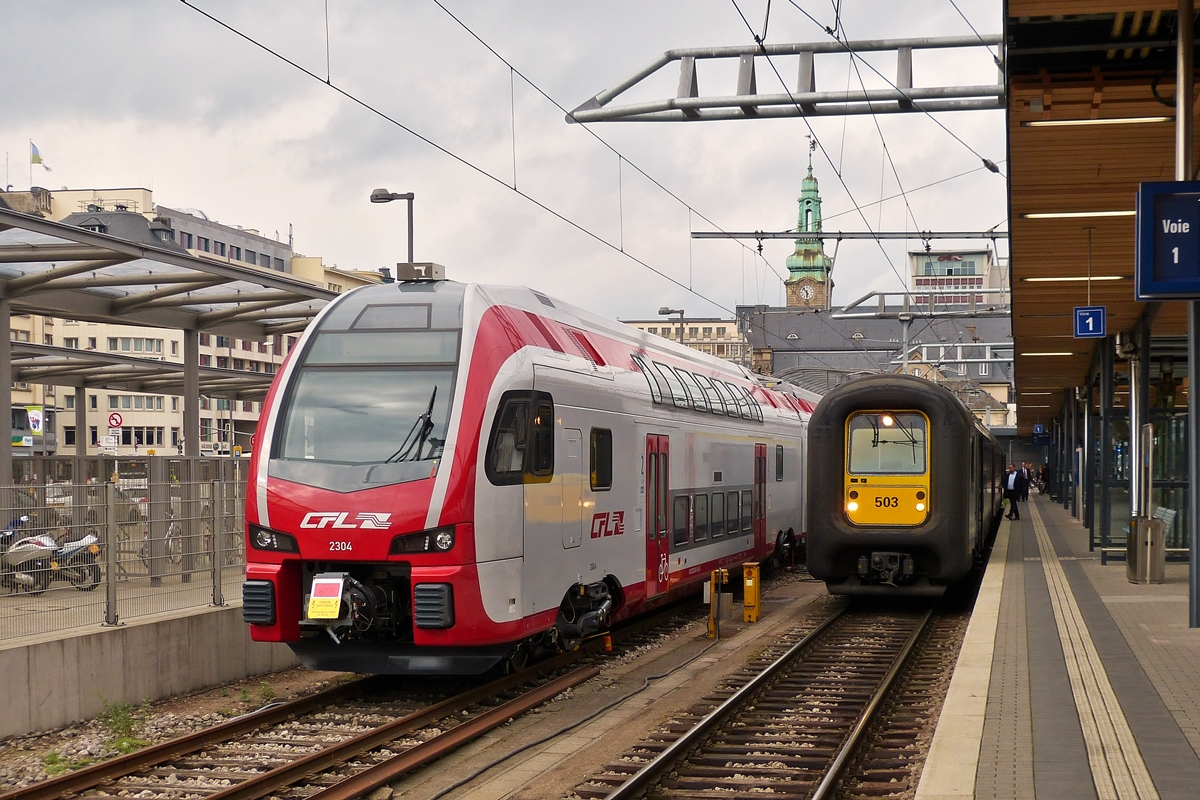 . CFL KISS Z 2304 and SNCB AM 96 503 taken togehter in Luxembourg City on May27th, 2014.