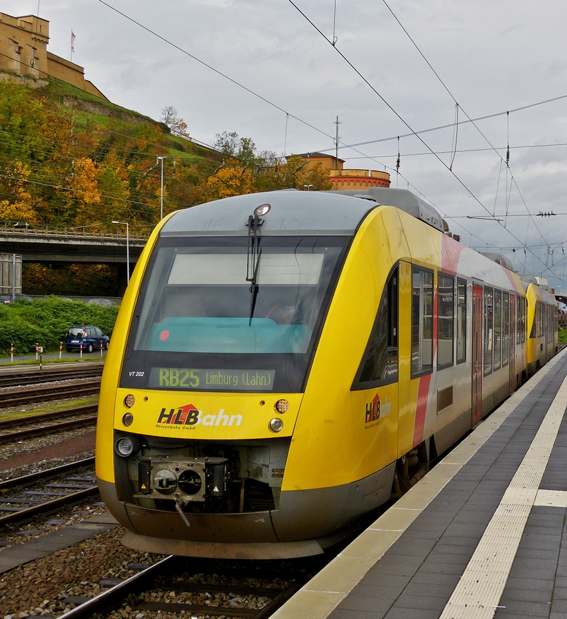 . HLB (Hessische Landsbahn) LINT 41 double unit as RB 25 Koblenz Hbf - Limburg (Lahn) is waiting for passengers in the main station of Koblenz on November 3rd, 2014.