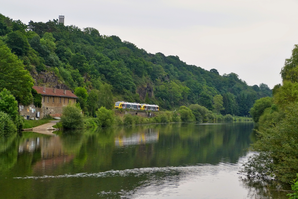 . HLB LINT 41 double unit is running along the Lahn in Runkel on May 26th, 2014.