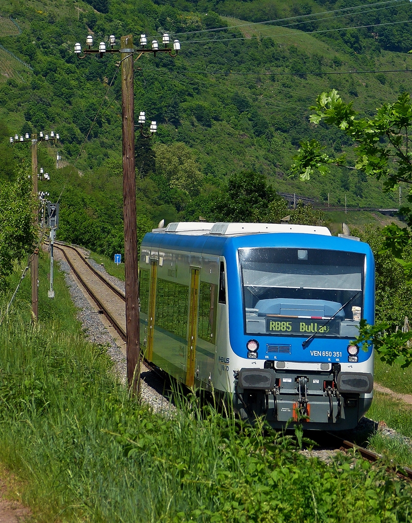 . Rhenus Veniro Stadler Regio-Shuttle RS1 650 351 is running through the wineyards in Reil on its way from Traben-Trarbach to Bullay on May 15th, 2015