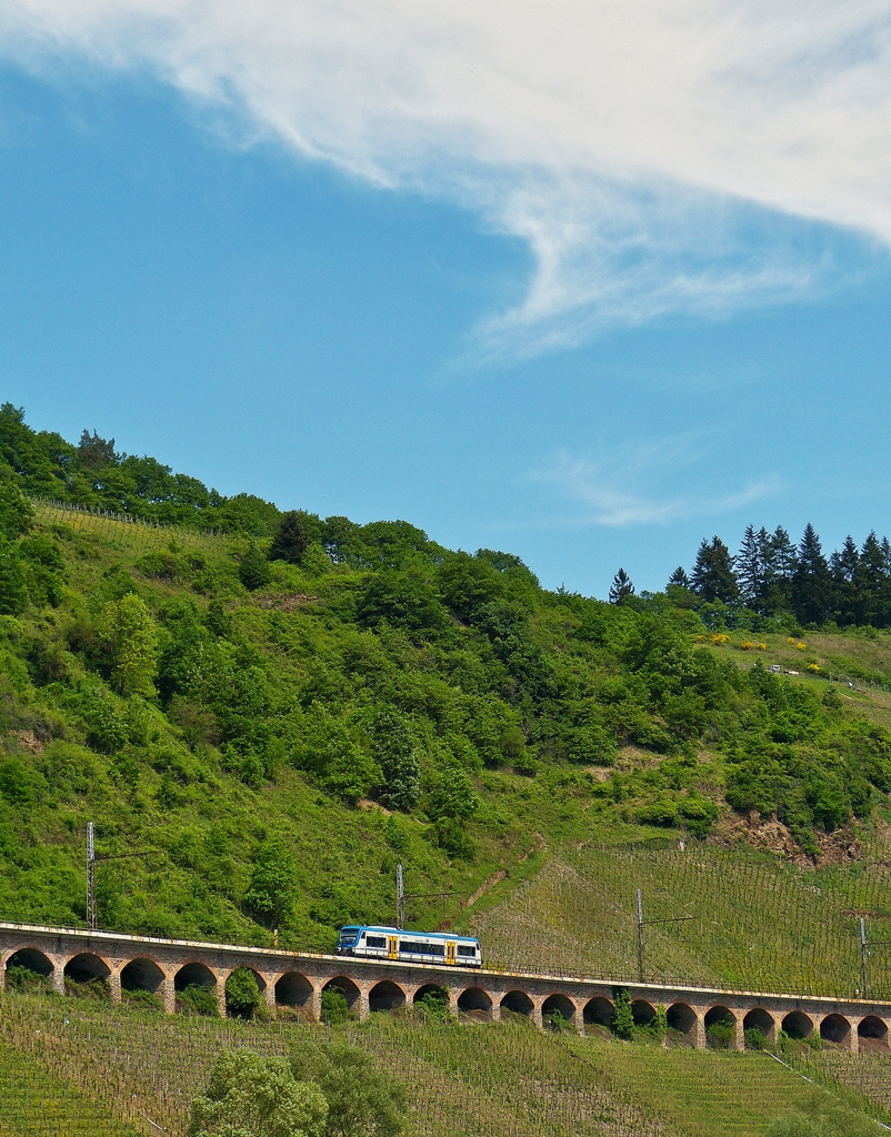 . Rhenus Veniro Stadler Regio-Shuttle RS1 650 351 is running on the slope viaduct near Pünderich on May 13th, 2015.