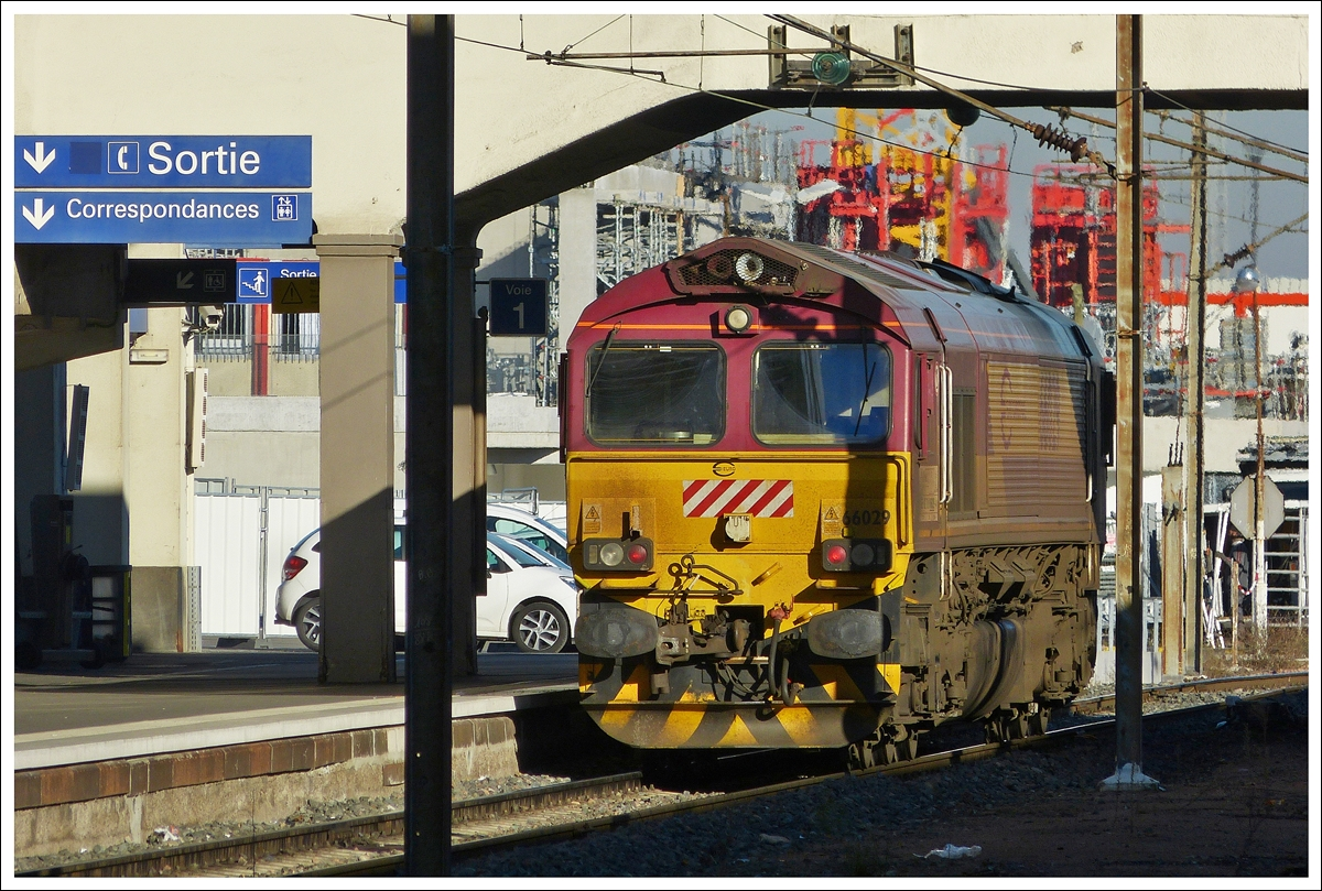 . The Euro Cargo Rail Class 66 N° 66029 pictured in the main station of Mulhouse on December 10th, 2013.