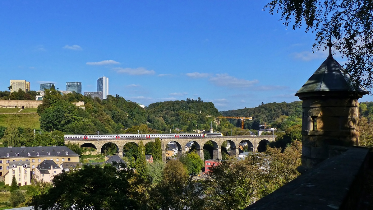 . The IR 117 Liers - Luxembourg City is running on the Pfaffental viaduct in Luxembourg City on September 23rd, 2014.