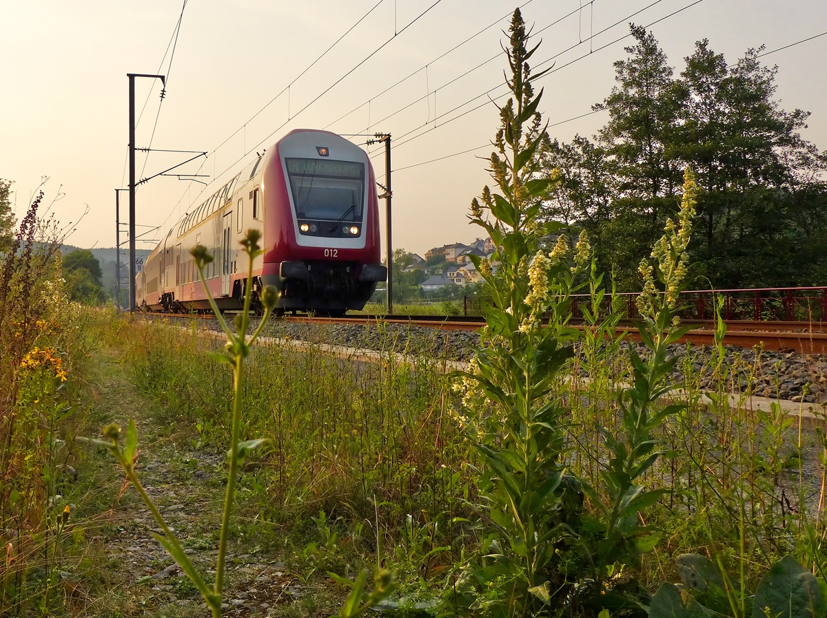 . The IR 3745 Troisvierges - Luxembourg City is running through Wilwerwiltz in the evening of July 22nd, 2014.