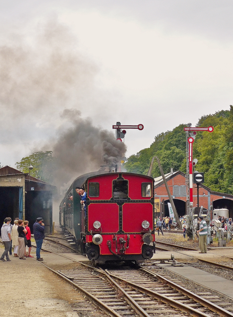 . The little steamer N° 503 of the heritage railway  Train 1900  is entering into the station of Fond de Gras on July 26th, 2015.