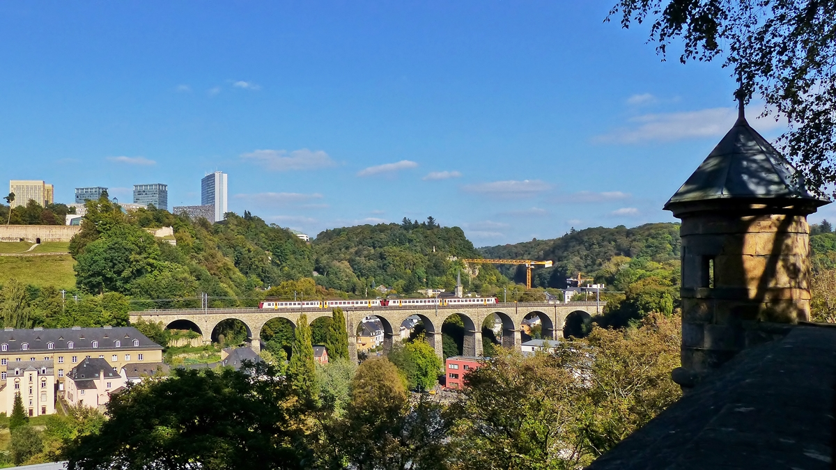 . The RB 3440 Ettelbrück - Luxembourg City pictured on the Pfaffental viaduct in Luxembourg City on September 23rd, 2014.