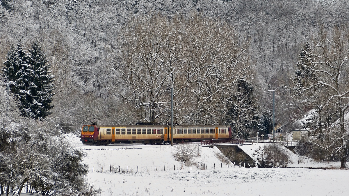. The RE 3838 Troisvierges - Luxembourg City photographed between Sassel and Maulusmühle on February 2nd, 2015.