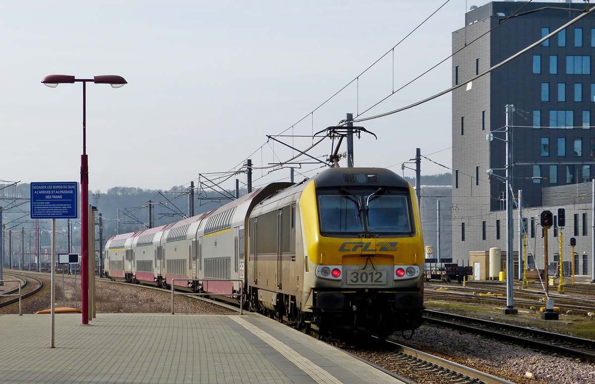 . The RE 6915 Luxembourg City - Rodange is leaving the station Belval Université on March 7th, 2014.