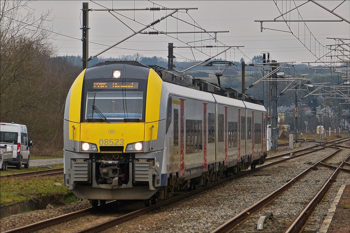 . The SNCB Desiro 08523 is arriving in Athus on January 8th, 2018.