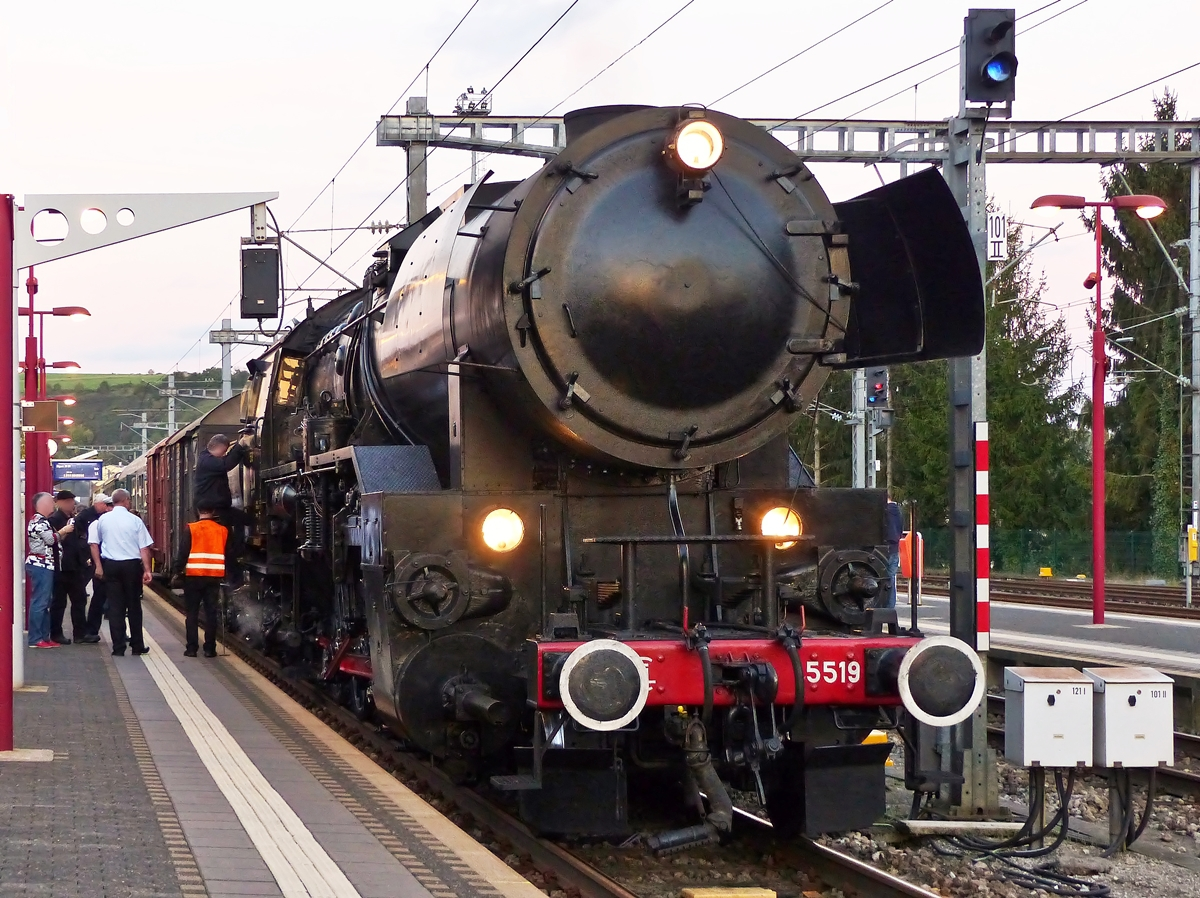 . The steam locomotive 5519 pictured in Wasserbillig in the evening of October 19th, 2014.