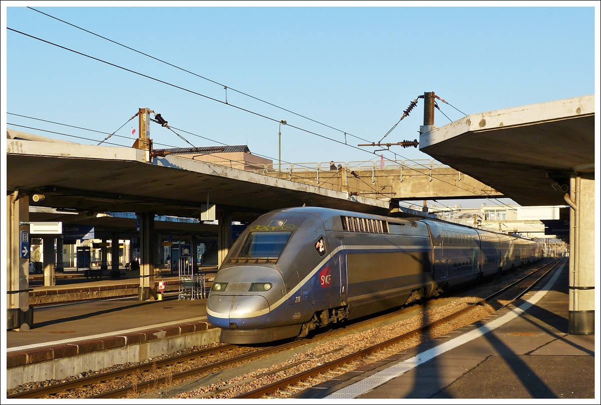 . The TGV Duplex 218 is waiting for passengers in Mulhouse Ville on December 11th, 2013.