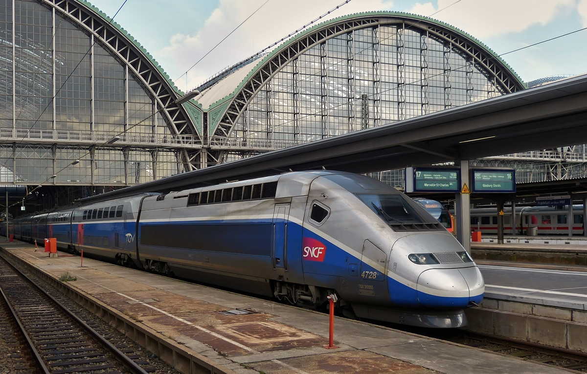 . The TGV Duplex 4728 to Marseille Saint-Charles is waiting fot passengers in the main station of Frankfurt am Main on February 28th, 2015.