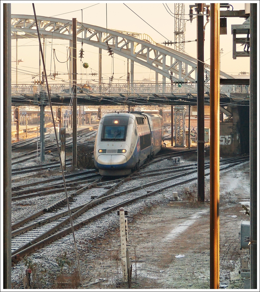 . The TGV duplex 703 is entering into the main station of Mulhouse on December 11th, 2013.
