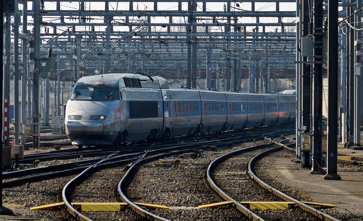 . The TGV Réseau 539 is entering into the station of Luxembourg City on March 11th, 2014.