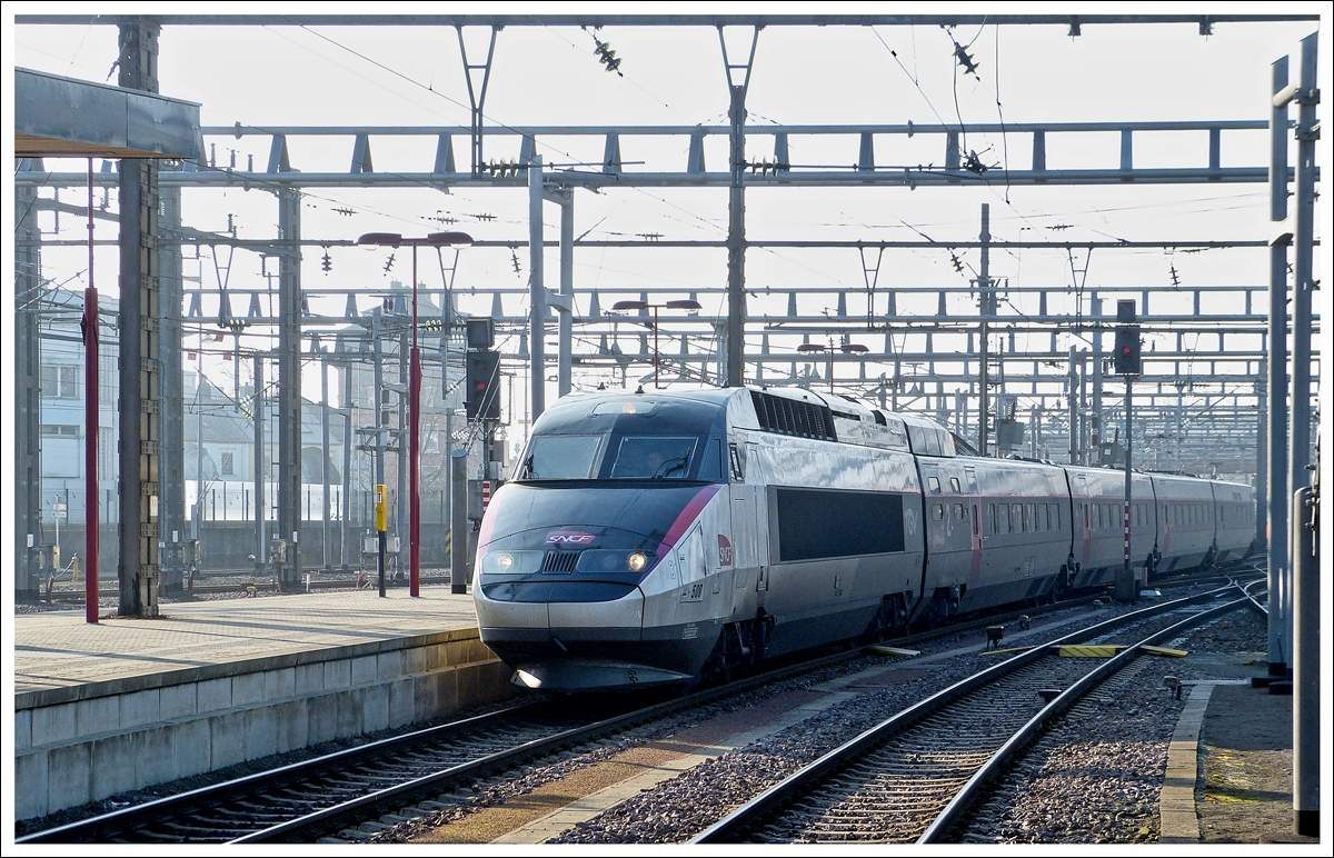 . The TGV Réseau N° 508 is entering into the station of Luxembourg City on January 31st, 2014.