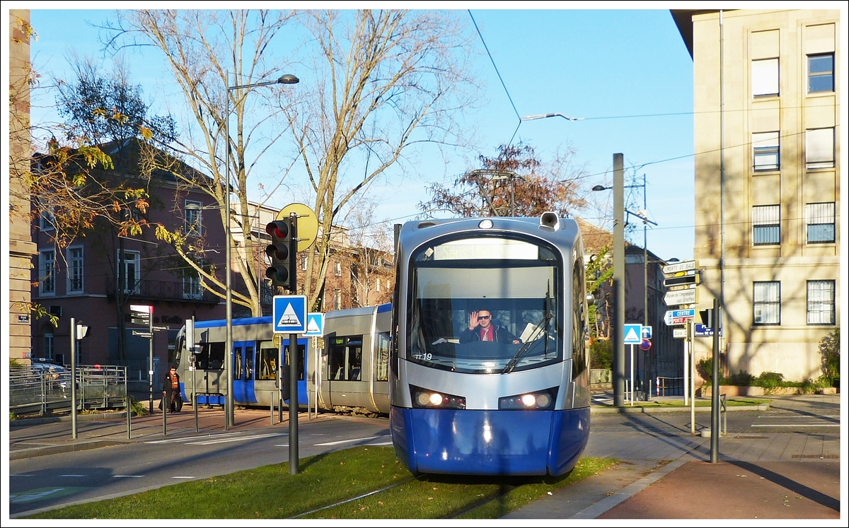 . The train tram N° 19 is turning from the avenue du Maréchal Foch into the rue du 17 Novenbre in Mulhouse on December 10th, 2013.