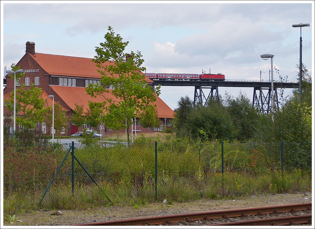 . View from the station of Rendsburg on the Rendsburger Hochbrücke on September 28th, 2013.