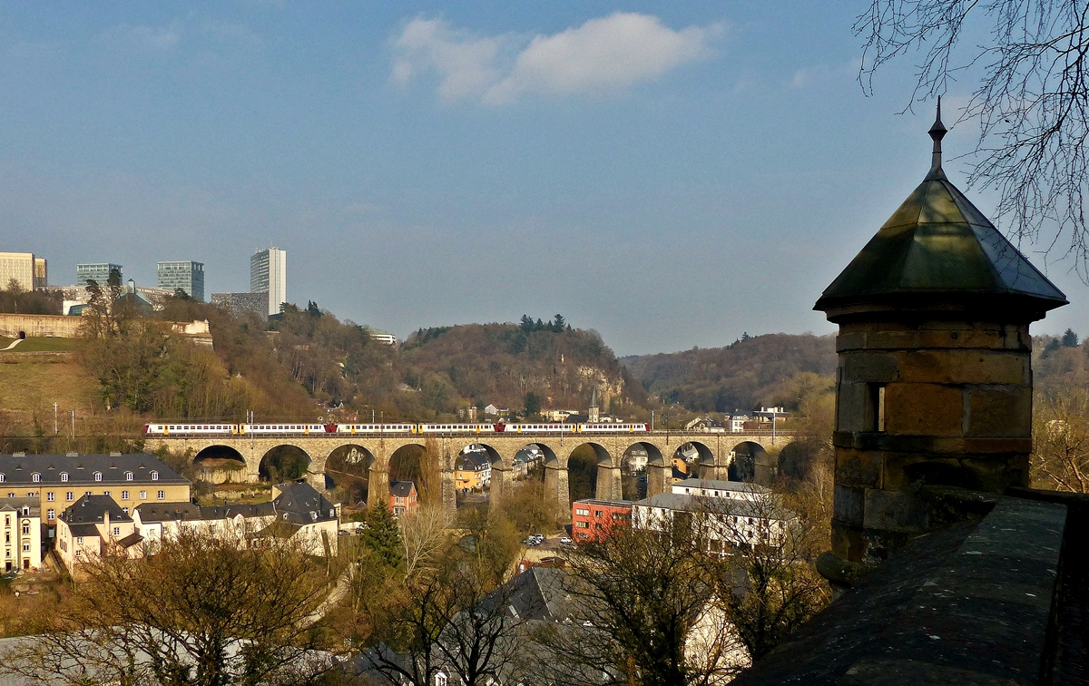 . Z 2000 triple unit is running on the Pfaffental viaduct in Luxembourg City on March 23rd, 2015.
