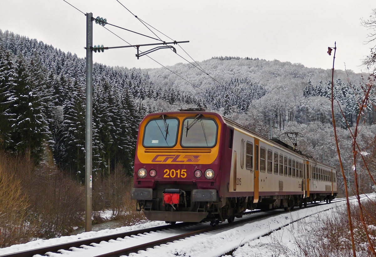 . Z 2015 as RE 1739 Wiltz - Kautenbach photographed between Wiltz and Merholtz on January 30th, 2015.