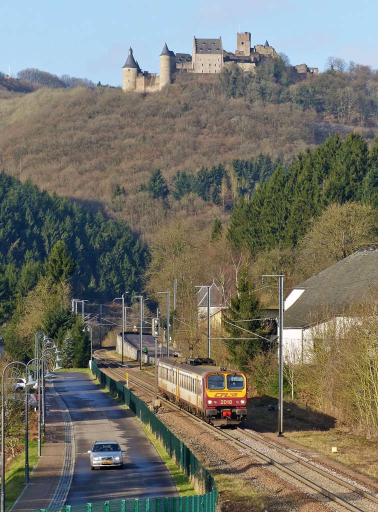 . Z 2018 as RE 3787 Troisvierges - Luxembourg City taken just before arriving at the stop Michelau on January 20th, 2015.