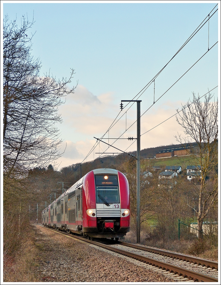 . Z 2200 double unit is running through Michelau on February 21st, 2013.