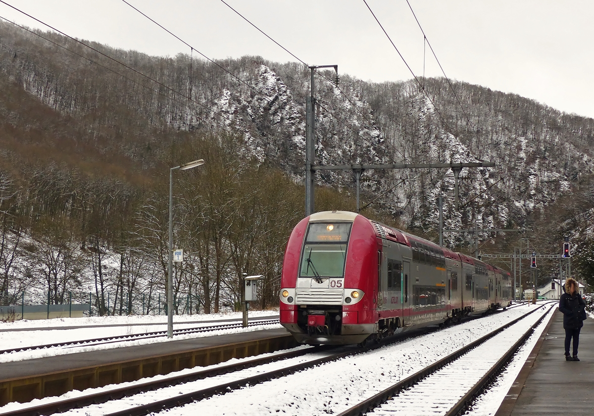 . Z 2205 as RE 3812 Luxembourg City - Troisvierges is arriving in Kautenbach on January 30th, 2015.
